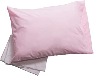 Big Oshi Toddler Pillow for Boys or Girls – Set Includes 1 Pillow and 2 Covers - Soft, Foam Pillow is Perfect for Toddler Beds, Cribs, or Kids Naps – 2 Cases (1 White & 1 Pink) - 14x19