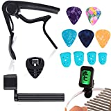 13 PCS Guitar Accessories Kit for Acoustic Guitar Including Guitar Capo, Tuner, Picks, Pick Holder, String Winder and Finger Protector