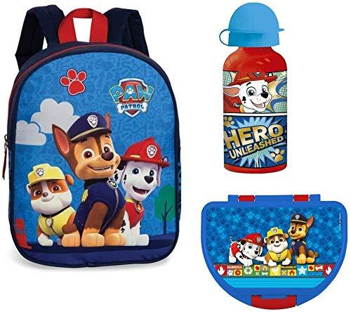 Familando Paw Patrol Rucksack-Set 3tlg. mit Brotdose und Trinkflasche für Kinder-Garten / Krippe blau