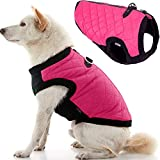 Gooby Fashion Vest Dog Jacket - Pink, Large - Warm Zip Up Dog Bomber Vest with Dual D Ring Leash - Winter Water Resistant Small Dog Sweater - Dog Clothes for Small Dogs Boy or Medium Dogs
