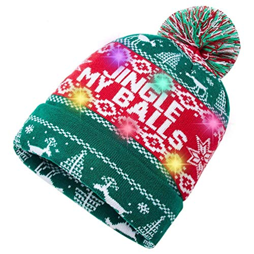 Women Men Ugly Christmas Sweater Jingle My Balls Printed LED Light-up Xmas Hat Beanie with 6 Lights
