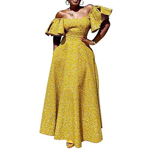 VERWIN Half Sleeve Off Shoulder Women's Maxi Dress Floor-Length Ruffle Sleeve Evening Party Long Dress L