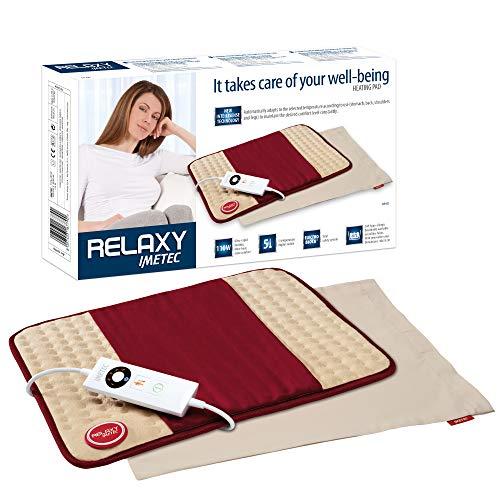 Imetec Relaxy HP-01 Almohadilla Eléctrica Térmica para Espalda, Hombros, Barriga y Piernas, Mando Digital, 5 temperaturas, Calientamento rápido,Tejido de Microfibra Lavable y Antialérgico, 40x35 cm
