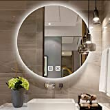 Makeup mirror Espejo de baño con Luces LED, Espejo de Maquillaje Moderno de Pared, 50-80 cm Espejo de baño retroiluminado sin Marco Redondo, Espejo de tocador Regulable Inteligente, Antivaho