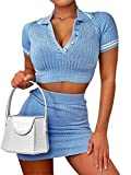 Women Two Piece Outfit, Sexy Solid Crop Top Mini Skirt Set Women Knitted 2 Piece Outfits (Blue Set, S)