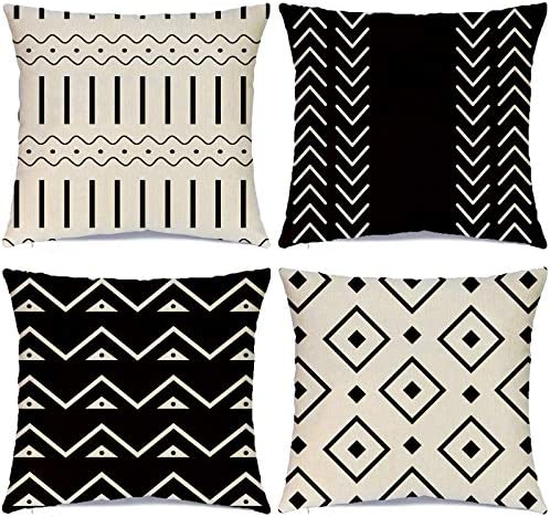 Hlonon Decorative Throw Pillow Covers for Couch Set of 4 Modern Sofa Decorative Stripes Geometric product image