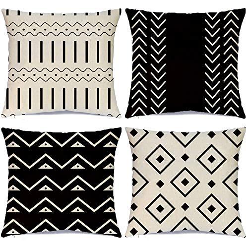 Hlonon Juego de 4 fundas de almohada decorativas para sofá, diseño de rayas geométricas de lino para cama, sofá, sala de estar, decoración del hogar, 45,7 x 45,7 cm