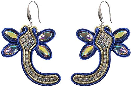 Gymqian Drop Earrings Women Drop Earrings Jewelry Female Soutache Handmade Ethnic Style Earring Dark Blue Exquisite/Blue
