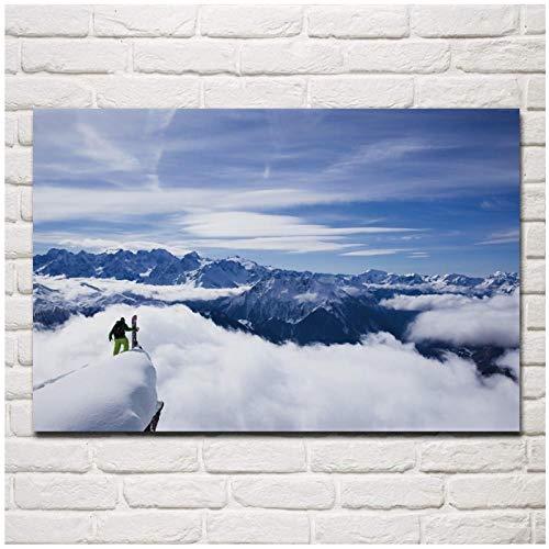 MULMF Himalaya Snowboard Bergen Sneeuw Natuur Landschap Woonkamer Thuis Moderne Kunst Decor Canvas Poster- 50X75Cm Geen Frame