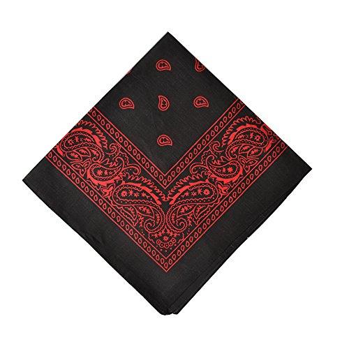 6 Pack Cotton Bandanas Headband Napkin Bandana for Daily Use,Black&Red