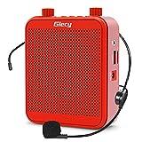 Giecy Amplificador de voz portátil 30W 2800mah Sistema de megafonía de batería recargable de gran capacidad con micrófono para profesores, aulas, reuniones y exteriores (Rojo)