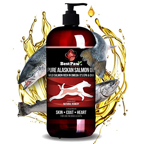 Best Paw Nutrition Pure Alaskan Salmon Oil for Dogs, Cats & Ferrets - Liquid Supplement for Joint Pain Relief - Soft Skin & Shiny Coat - Omega 3 Fish Oil Pets Love - 32oz
