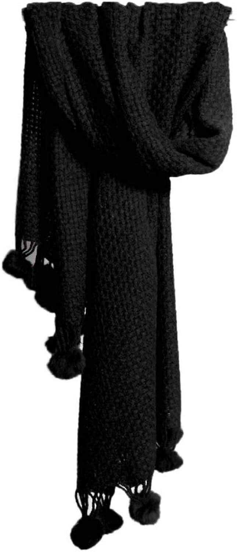 CHX Warm Scarf Thick Line Knitting Winter Hang Ball Tassel Shawl Dual Use 225×70cm Large Size V (color   Black)