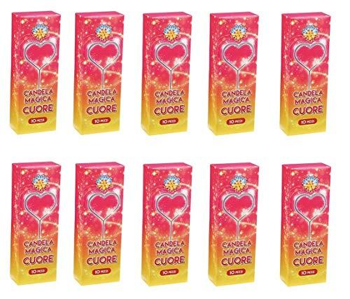 Zeus Party 100 pz Candeline scintille a Forma di Cuore Bastoncino Luminoso pirotecnico Stelline (categoria k1) Festa