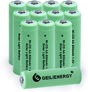 KRUTA Solar Light Batteries AA NiCd 1.2v Rechargeable Batteries Garden Solar Ni-Cd AA 800mAh Rechargable Batteries 12 Pack