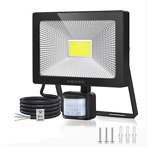MEIKEE 50W Foco LED con Sensor de Movimiento, Proyector Led Exterior Super Brillante 5000LM, Luz Led Exterior IP66 Impermeable, Foco LED Detector para Jardín, Patio, Garaje - Blanco Frío(6500K)