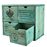 MyGift French Country Design Rustic Turquoise 4 Drawer Wooden Storage Cabinet/Jewelry Orga...