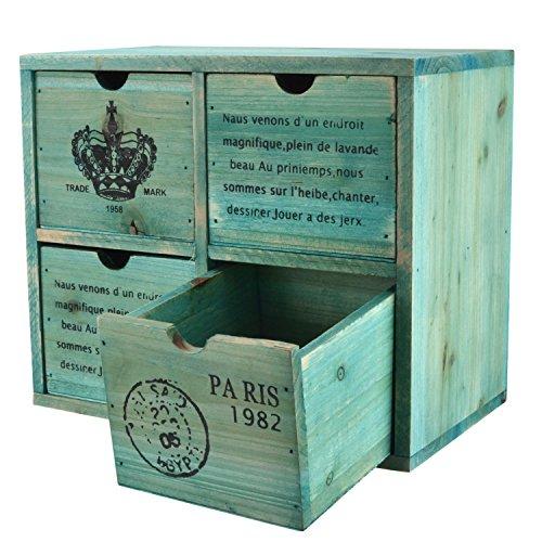 MyGift French Country design rustico turchese 4cassetto in legno/gioielli organizzatore petto