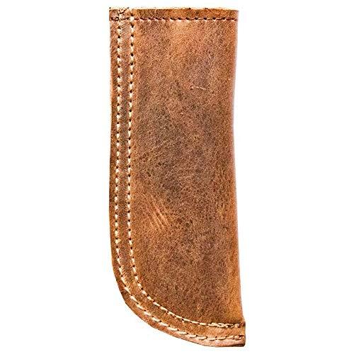 Gaoominy - Manivela de cuero rústico con doble capa/doble costura (marrón)