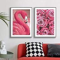 ローズレッドフラミンゴキャンバスウォールアート絵画用リビングルームデコレーション額縁プリントフラワーノルディックモダンデコラティブデコ-40x60cmx2個フレームなし