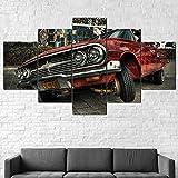 Lienzos decorativos Coche Lowri-der Hop-150x80 CM Cuadros Modernos Impresión de Imagen Artística Digitalizada Lienzo Decorativo Para Salón o Dormitorio 5 Piezas
