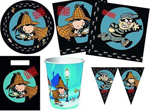45-teiliges Party Set Detektiv Flo Kindergeburtstag Geburtstag Party Fete Feier 8 Teller, 8 Becher, 20 Servietten, 8 Partytüten, 1 Wimpelkette