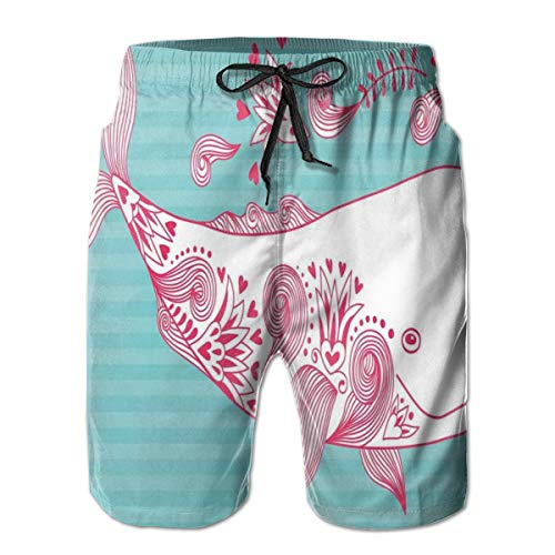 Men's Sports Beach Shorts Board Shorts,Cute Big Fish Swimming and Floral Marine Animal Mammal Creature Themed Design,Surfing Swimming Trunks Bathing Suits Swimwear,XL