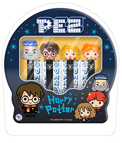 PEZ Candy Harry Potter Gift Tin (Includes 4 Harry Potter PEZ Dispensers & 6pack of Mystery PEZ Candy), assorted fruit, 6 Count (000871)