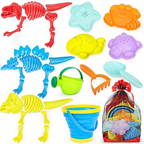 Kids Beach Toys 32PCS Sand Toys with Dinosaur Sand Molds, Folding Bucket, Mesh Bag, Toddler Sandbox Toys Outdoor Play Kit for Boys and Girls