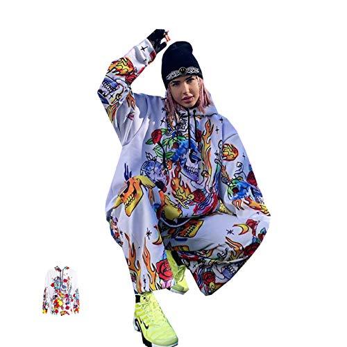 TR-yisheng Suéter con Capucha de Hip-Hop Estampado con Capucha de otoño e Invierno de Europa y América para Mujer