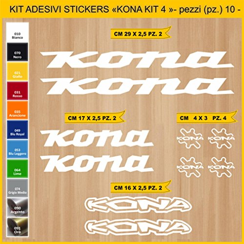 Pimastickerslab Aufkleber Fahrrad KONA_ KIT4 Kit Aufkleber Stickers 10 Stück – bici Bike Cycle wählbar Cod.0871 (010 BIANCO)