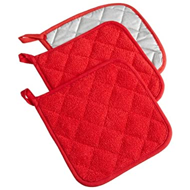 DII Cotton Terry Pot Holders, 7x7   Set of 3, Heat Resistant and Machine Washable Hot Pads for Kitchen Cooking and Baking-Red