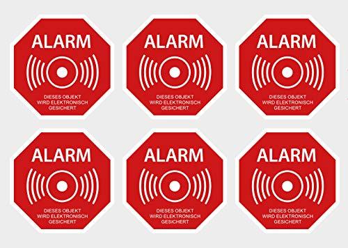 6 Stück Premium Aufkleber Alarm Alarmanlage Objekt Elektronisch gesichert Hinweis-Schild Witterungs- und UV-Beständig