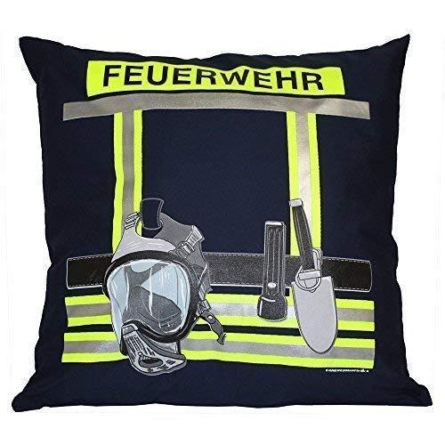 Kissen mit Print - Feuerwehr - ca. 40 x 40 cm - 11611 - Dekokissen Autokissen Farbe Navy