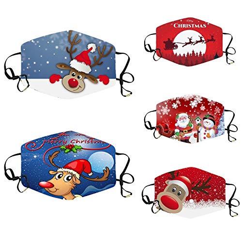 SicongHT Erwachsene Waschbar mit Motiv Weihnachtsmann, Mehrweg Atmungsaktiv Stoff Bandana Halstuch Tuch, 5 Stück Weihnachts Mund und Nasenschutz Sport im Freien(5 Stück,C)