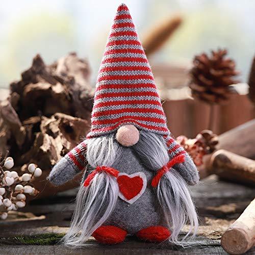 1 unids Sombrero de Rayas Sección Atado Barba Sin Cara Adornos Muñecas Escena de Navidad Decoración Muñeca (Color : Gris)