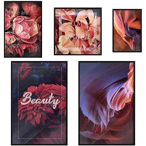 decomonkey | Poster 5er – Set schwarz-weiß Abstrakt Kunstdruck Wandbild Print Bilder Kunstposter Wandposter Posterset Blumen Rose Spruch Sprüche Pflanzen Bunt