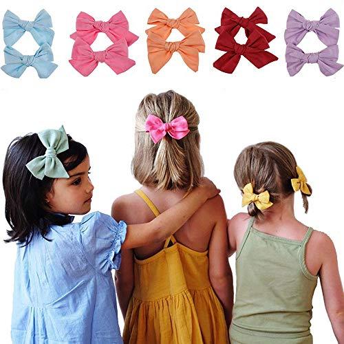Unicra Haarspangen mit Stoff rote Schleife Haarspangen für Mädchen (10 Stück)