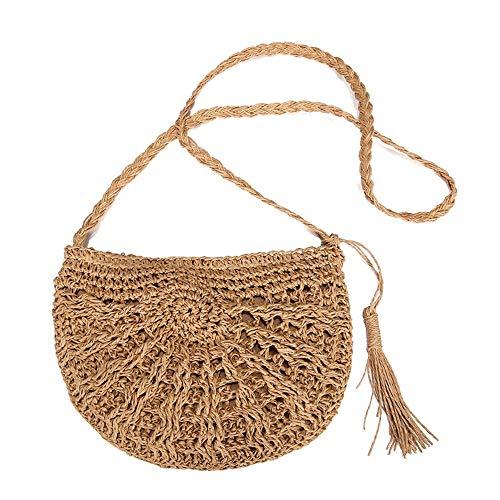 LYNLYN Stroh Crossbody Tasche, Frau Weben Schulter Tasche Sommer Strand Geldbörse zum Reise Täglicher Gebrauch,A
