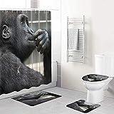 LONSANT Duschvorhang Set,Affen Denken,Rutschfesten Teppichen Toilettendeckel & Badematte Wasserdichter Duschvorhang für mit 12 Haken