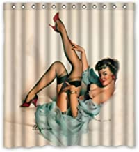 FUNNY KIDS' HOME Sexy Pretty Girl in Bed - Vintage Retro Pin Up Girls Bathroom Shower Curtain Body Art Canvas Painting Style Waterproof Polyester Fabric 66(w) x72(h) Rings Included