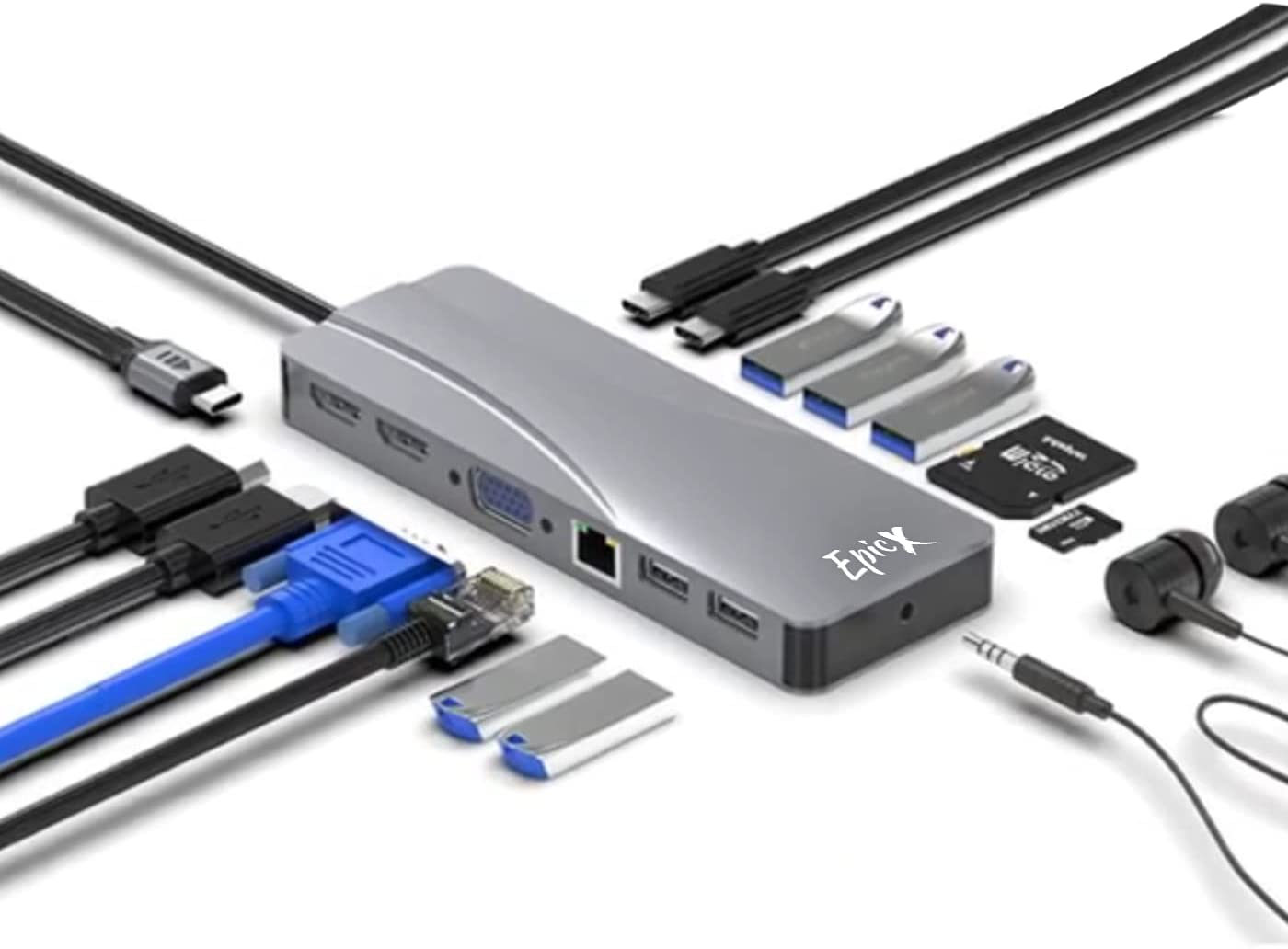 USB C Hub - 14 in 1 Laptop Docking Station - Multipurpose Docking Station for MacBook and Windows Laptops - Minimalist USB Type C Hub with 2 x 4K HDMI Output, 1 x VGA Output, Card Reader, 3 x USB 3.0