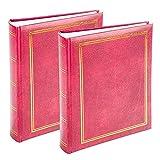 Álbum de fotos clásico de 15 x 10 cm, fácil de rellenar, con texto y libro encuadernado, para 100 / 200 / 300 fotos en un álbum de fotos de diseño tradicional y atemporal,Rojo, 2x 200 Pictures