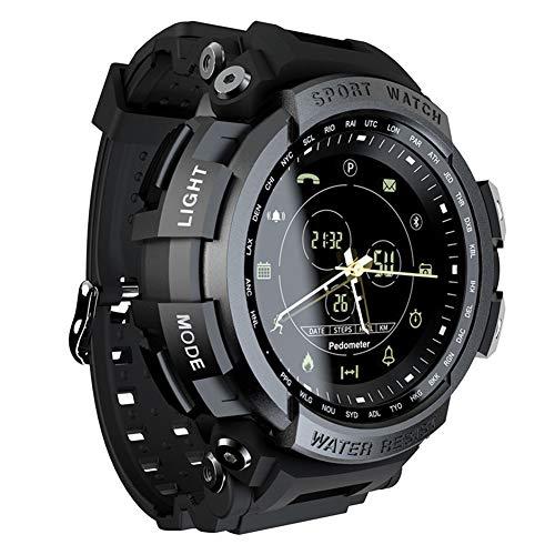 Reloj deportivo electrónico para hombres Reloj de pulsera digital impermeable multifunción para exteriores con calorías Cronómetro Podómetro Llamada SMS Recordatorio Luz de fondo para correr (Black)