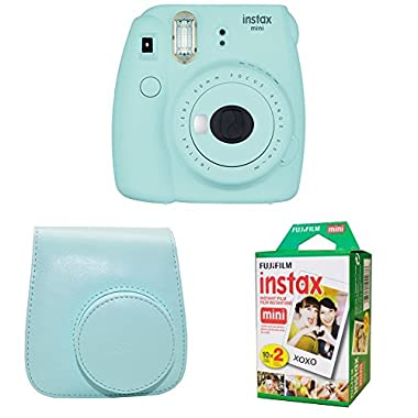 Fujifilm Instax Mini 9 Instant Camera with Instax Groovy Camera Case (Ice Blue) & Instax Mini Instant Film Twin Pack