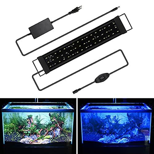 Hshelekte Aquarium LED Beleuchtung, 24W Aquariumbeleuchtung Lampe Weiß Blau Licht Aquarium Lampe mit Verstellbarer Halterung für 50-80cm Süßwasser-Aquarien und Wasserpflanzen