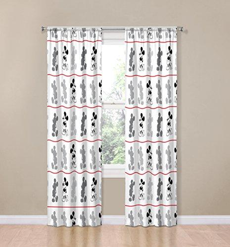 Disney Mickey Mouse Jersey White 4 Piece 84' Curtain/Drapes Set (2 Panels, 2 Tiebacks)