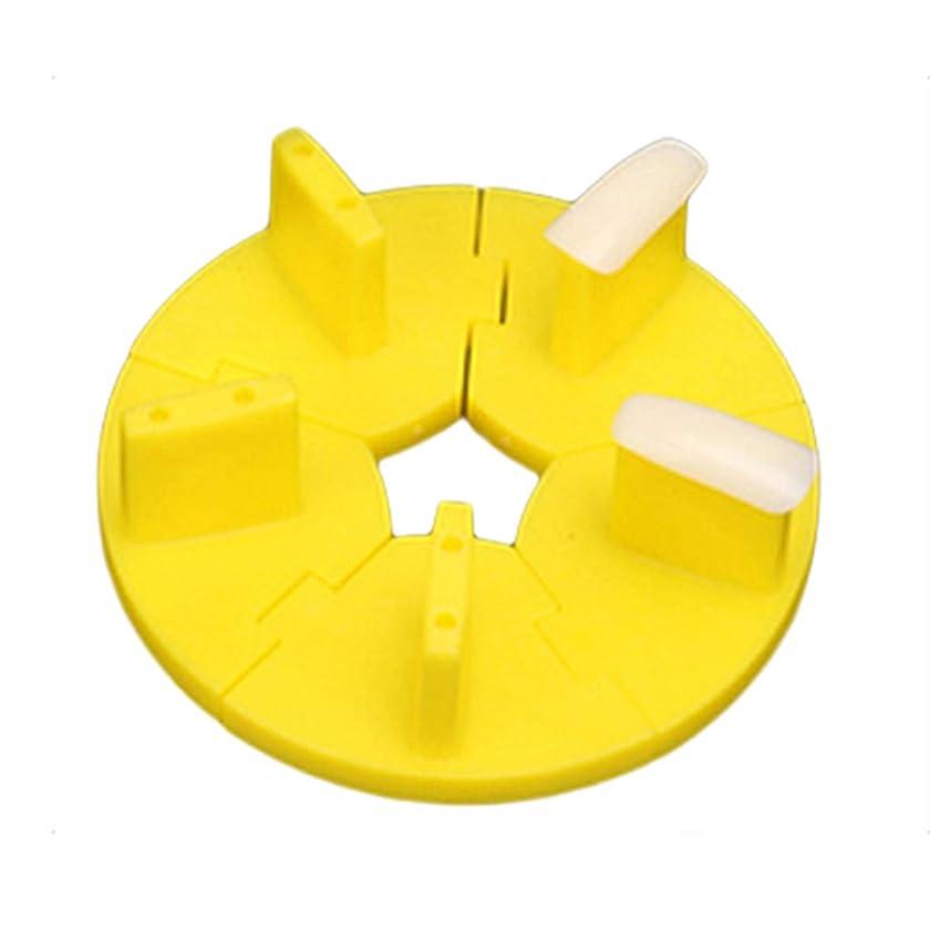 yingyue Removable Round Plastic Nail Training Frame False Nail Tips DIY Art Nail Tools Yellow