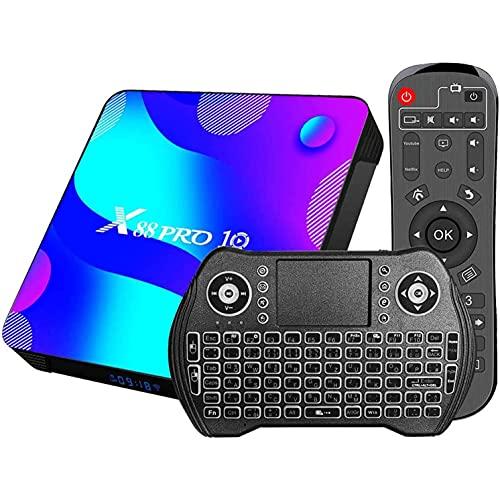 GEQWE [2021 Más Nuevo] Android 10.0 TV Box, X88 Pro 10 Android Box RK3318 CPU Quad-Core Cortex-A53 con Doble WiFi 2.4G / 5.8Ghz BT 4.0, con Mini Teclado Inalámbrico Ultra HD 4K HDR TV Box,2gb+16gb