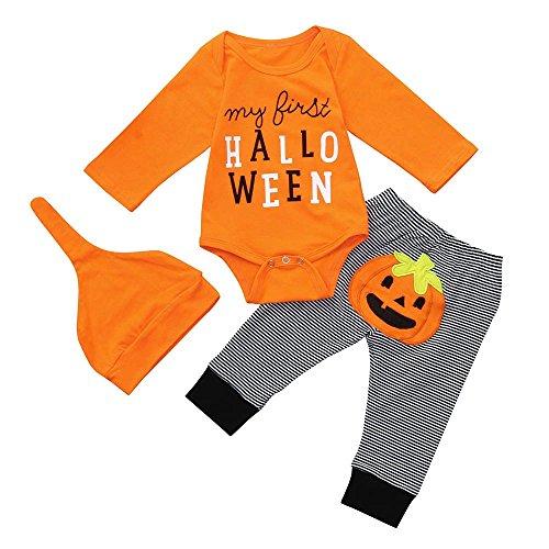 Jimmackey- Bambino 3pcs Infantile Halloween Completini, Neonato Unisex Pagliaccetto Body Tutine + Striscia Pantaloni 3D Cappello Costume (Nero, 0-6 Mesi)